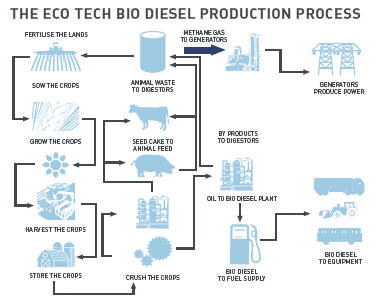 the ecotech biodiesel production process chart (below) shows the flow from  plants to pump